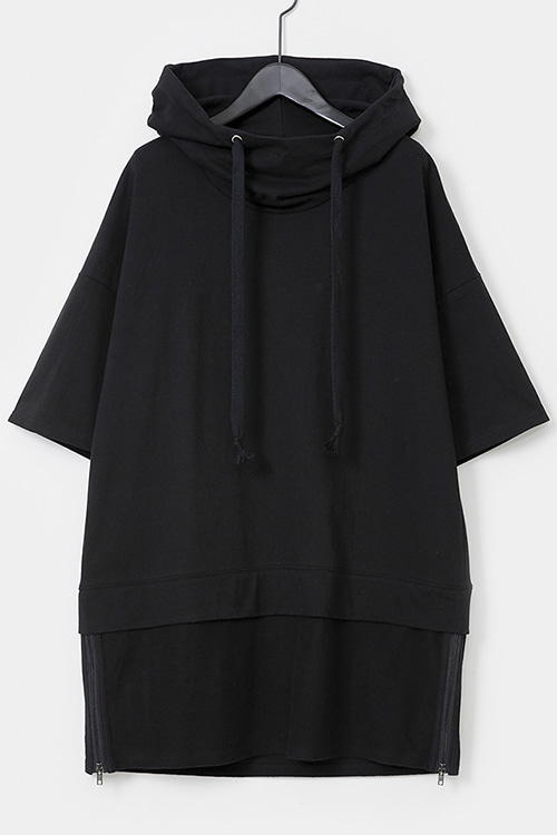 Hooded Side Zipper T-shirt