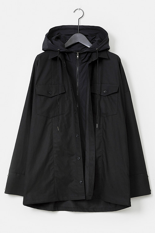 Hooded Shirt-Layered Jumper