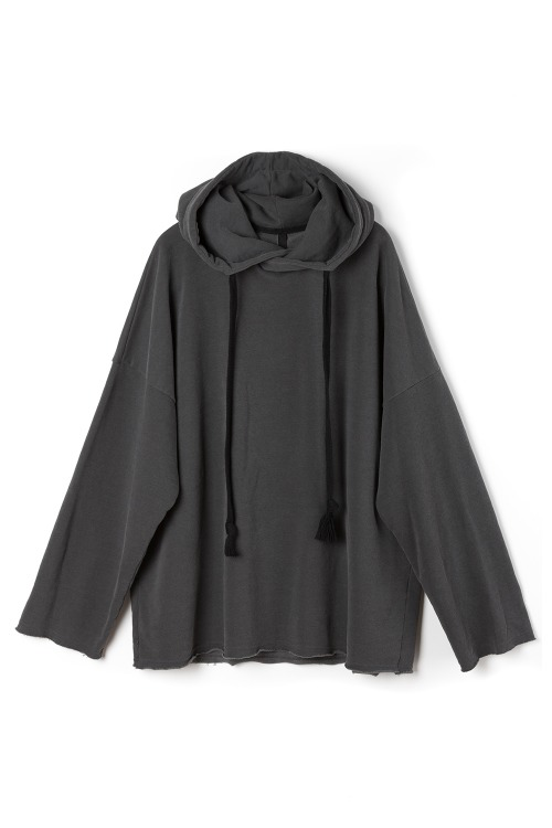 Oversized Raw Edge Hoodie [Charcoal]