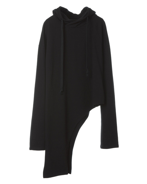 Hooded Diagonal Long T-shirt